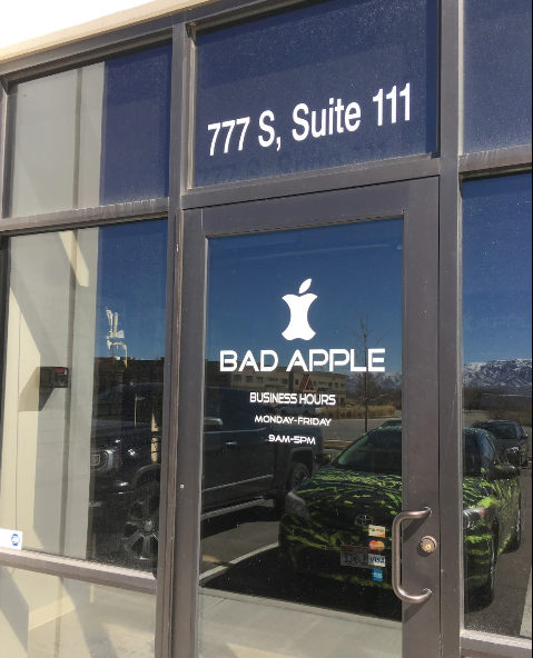 American Fork, Utah Bad Apple location front door. Come in for iPhone, iPad, and Samsung repair.