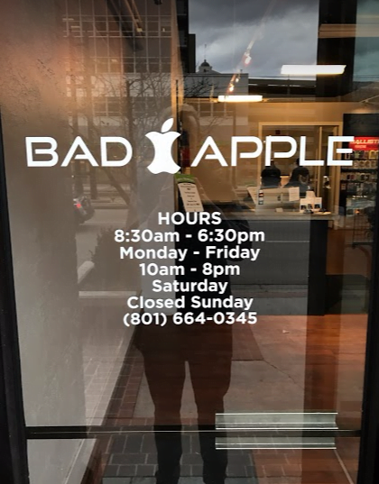 Salt Lake City, Utah Bad Apple location building. Come in for iPhone, iPad, and Samsung repair.