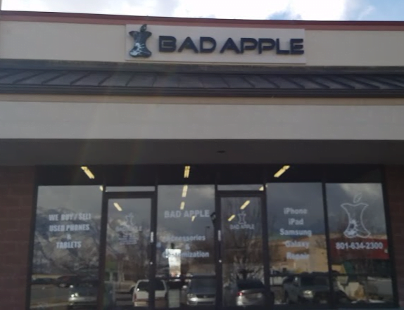 South Jordan, Utah Bad Apple location building. Come in for iPhone, iPad, and Samsung repair.