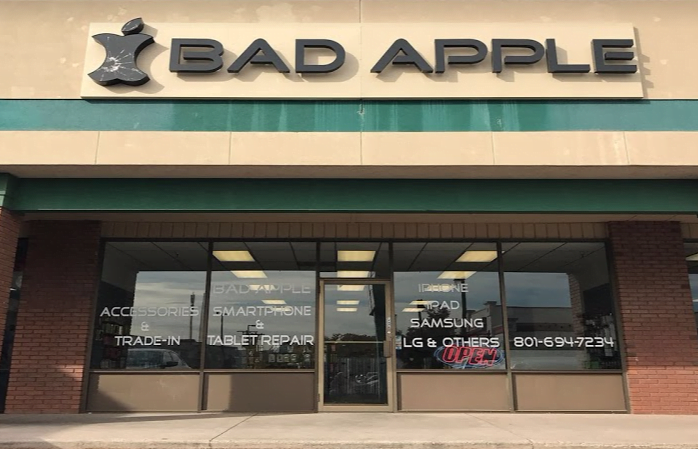 Sugar House, Utah Bad Apple location building. Come in for iPhone, iPad, and Samsung repair.