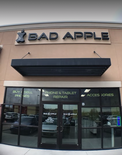 West Valley City, Utah Bad Apple location building. Come in for iPhone, iPad, and Samsung repair.
