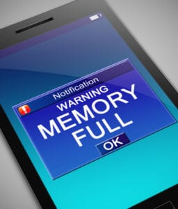 "A phone's message reads ""memory full"""